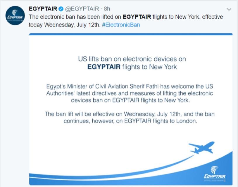 Electronics Ban - EgyptAir