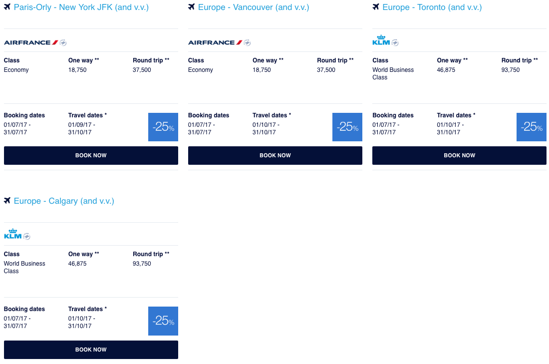 Flying Blue Promo Awards July 2017 North America