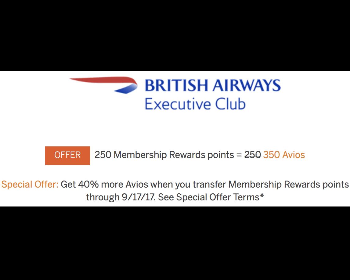 40% Bonus on Membership Rewards Transfers to Avios - AwardWallet Blog
