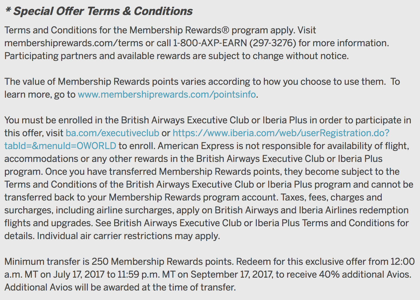 Membership Rewards to British Airways Avios 40 Percent Bonus Summer 2017 Terms & Conditions