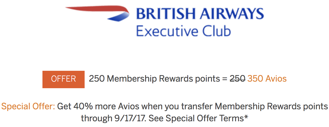 Membership Rewards to British Airways Avios 40 Percent Bonus Summer 2017