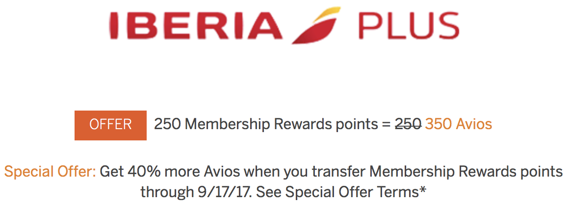 Membership Rewards to Iberia Avios 40 Percent Bonus Summer 2017