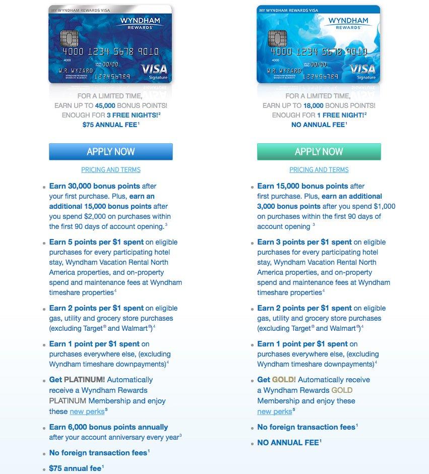 Wyndham Rewards Visa Card Comparison