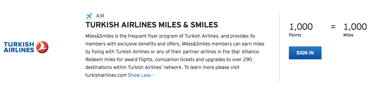 Turkish Airlines Citi ThankYou Transfer Partner