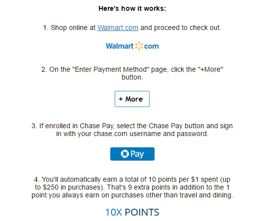 Walmart 10x Chase Pay - How It Works