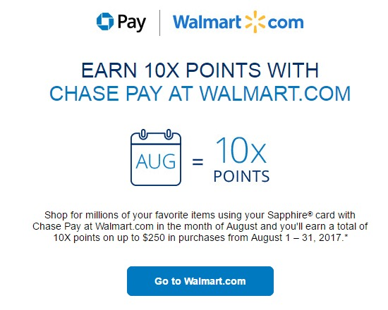 f4c8111516bc 10X Points at Walmart.com With Chase Pay - AwardWallet