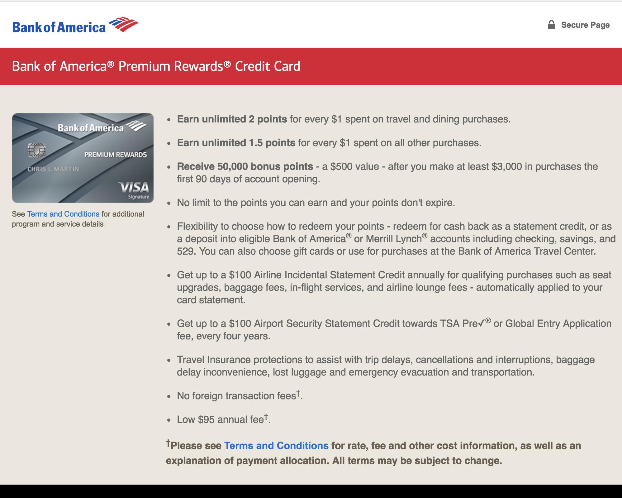 Bank of America® Premium Rewards® Credit Card - AwardWallet Blog