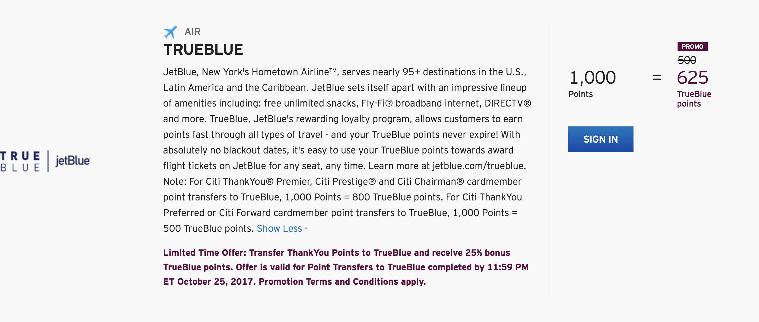 JetBlue TrueBlue 25 Percent Transfer Bonus from ThankYou Points through October 25 2017