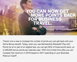 Platinum Amex 35 Percent Rebate Max Increase - Featured