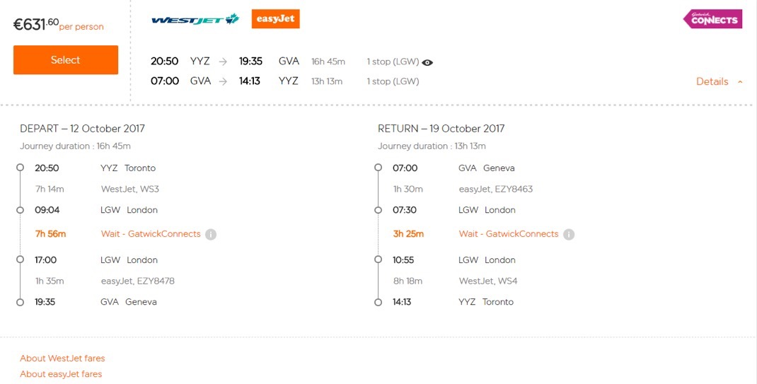 Worldwide By EasyJet - Fare