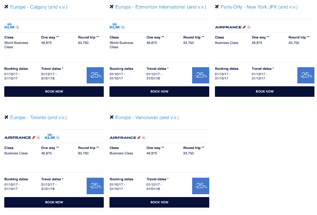 Air France Flying Blue Promo Awards North American October 2017