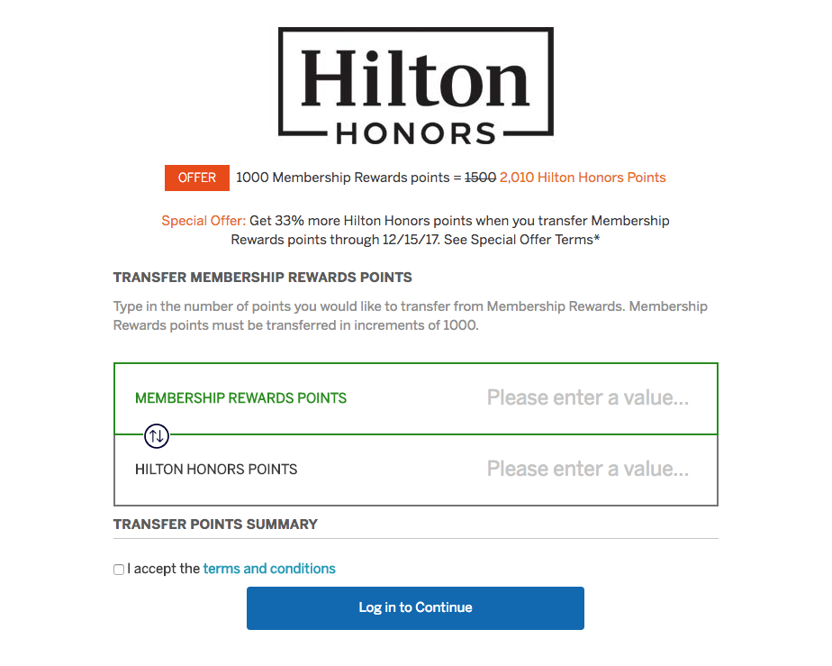 Amex Hilton 33 Percent Transfer Bonus Fall 2017