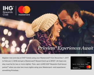 IHG Priceless Experiences Nov 2017 to Feb 2018
