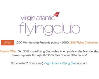 Virgin Atlantic Membership Rewards 30 Percent Transfer Bonus Fall 2017 - Featured