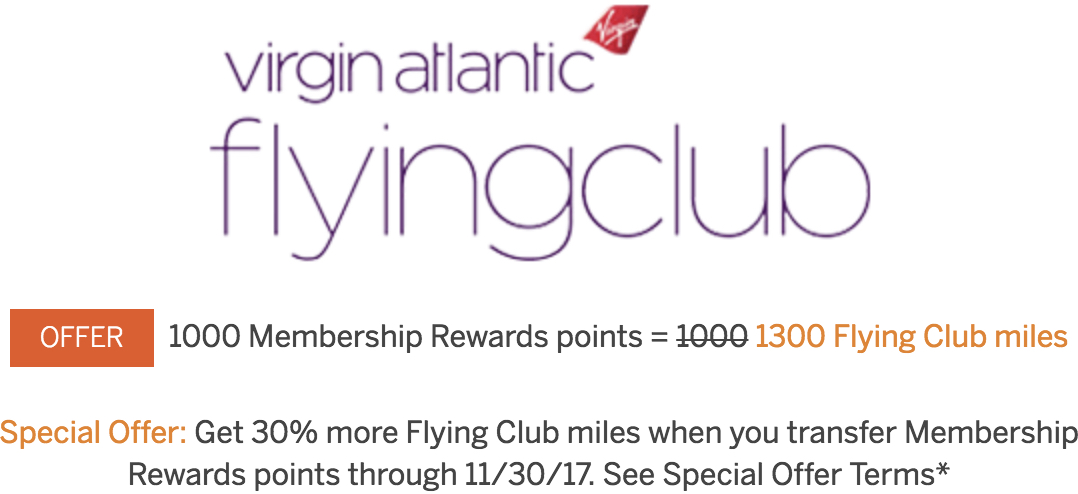 30 membership rewards transfer bonus to virgin atlantic through nov virgin atlantic membership rewards 30 percent transfer bonus fall 2017 reheart Images