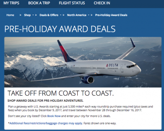 Delta Pre-Holiday Award Deals 2017 - Featured