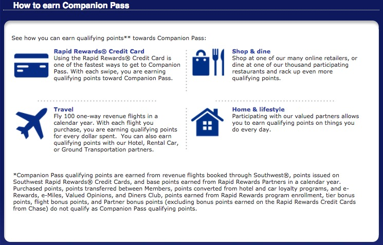 Points that Qualify for Southwest Companion Pass