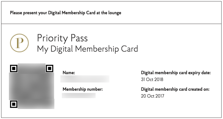 Priority Pass Digital Membership Card