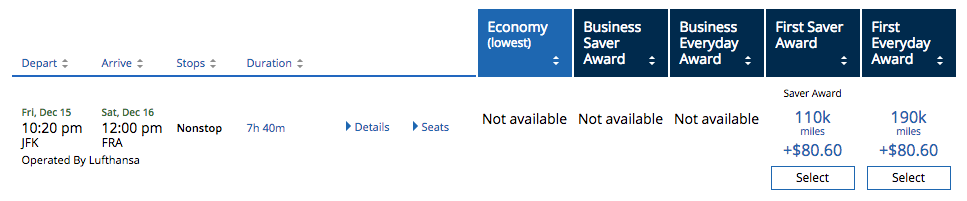 United Award Availability Lufthansa First Class within 14 days