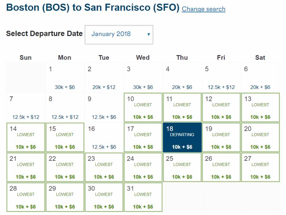 Alaska Award Sale BOS to SFO