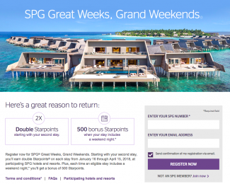 SPG Great Weeks Grand Weekends Q1 2018 Promotion - Featured