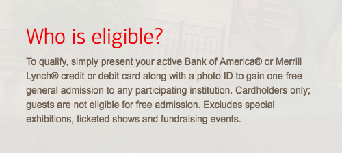 Bank of America Museums on Us 2018 - Who is eligible