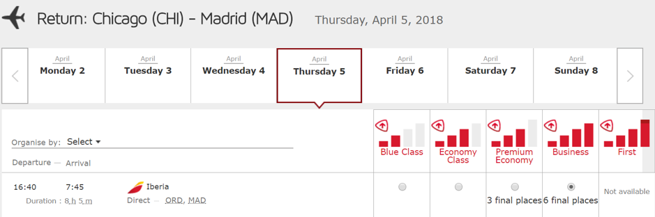 Iberia Avios 25 Percent Off Award Sale Through January 31 2018 - ORD-MAD