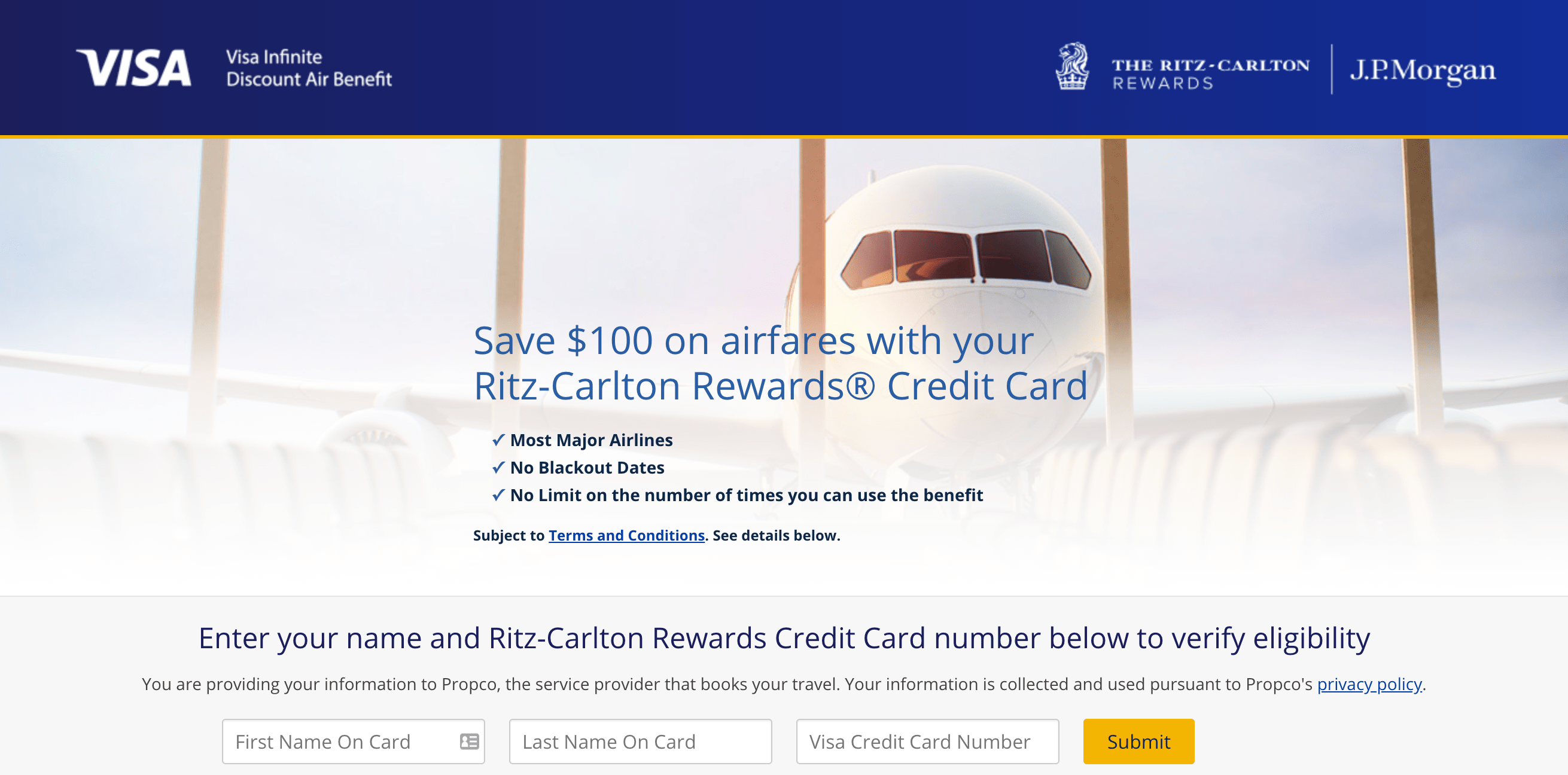 Visa Infinite Discount Air Benefit