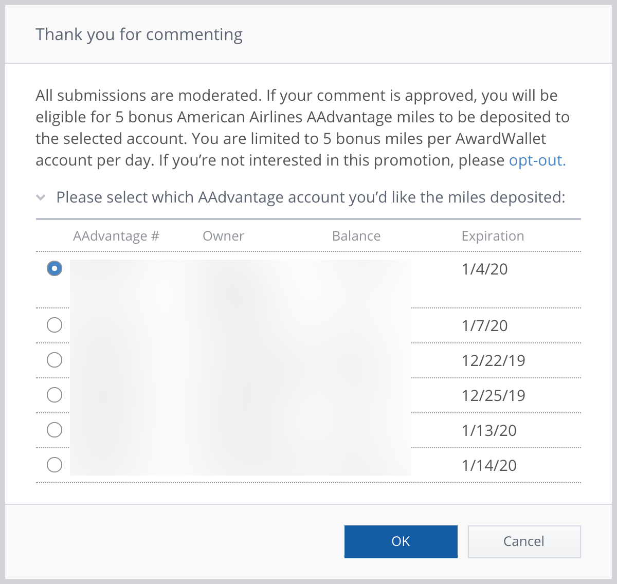 AwardWallet Bonus AA Miles - Thank you for commenting account selection dialogue