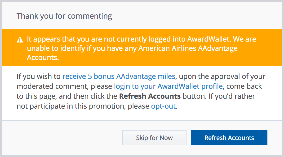 AwardWallet Bonus AA Miles - Thank you for commenting dialogue