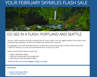 Delta Flash Sale Portland and Seattle Feb 2018