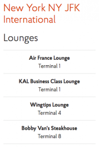Priority Pass - JFK Lounges Feb 2018