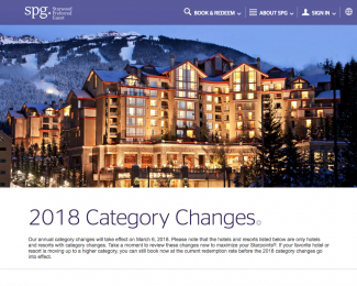 Starwood and Marriott 2018 Category Changes