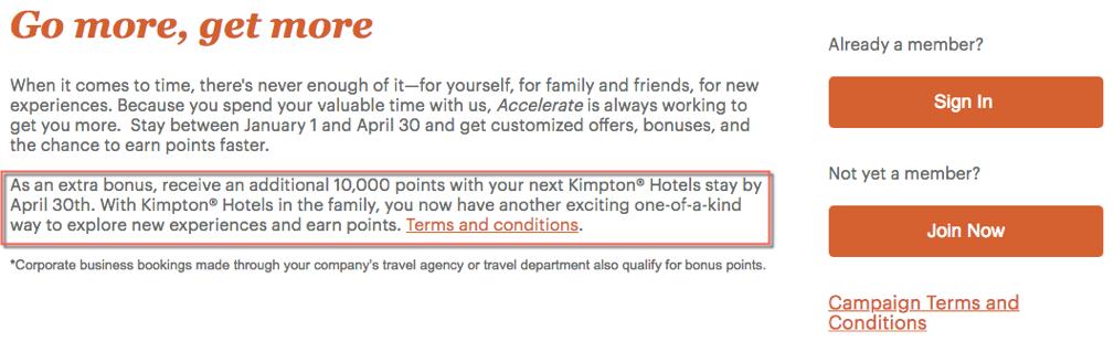 Stay Once at Kimpton 10000 Point IHG Rewards Bonus