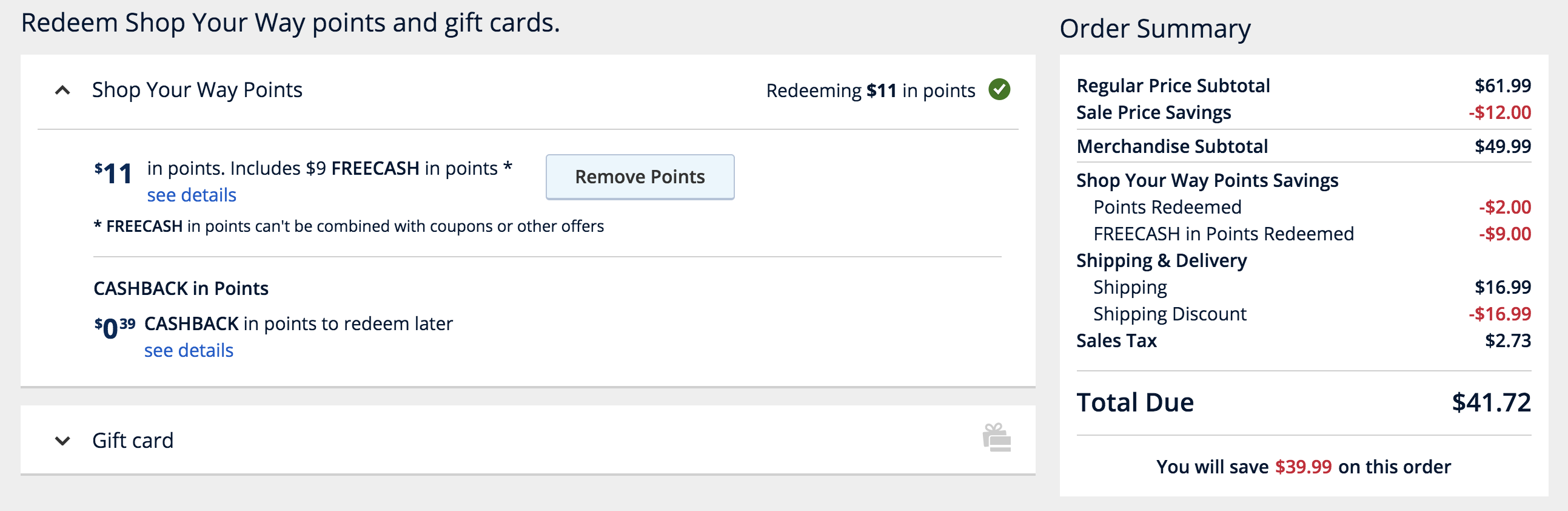 redeeming shop your way points