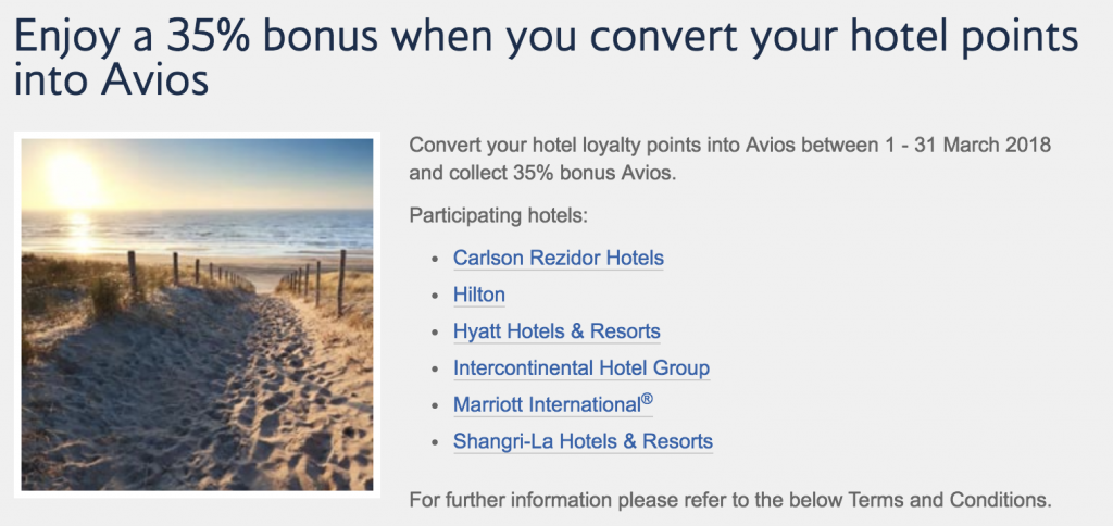 British Airways Avios 35 Percent Transfer Bonus March 2018