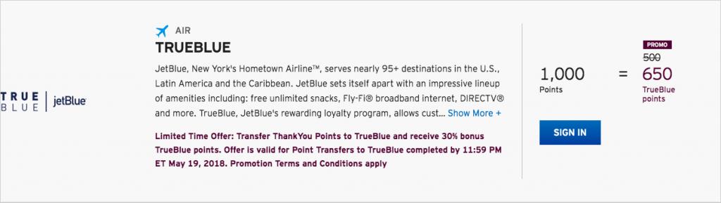 Citi ThankYou Rewards 30 Percent Transfer Bonus to JetBlue TrueBlue Points Details for ThankYou Preferred Card