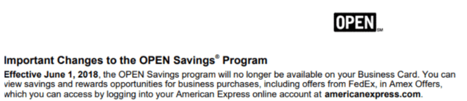 OPEN Savings Program Termination