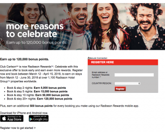 Radisson Rewards Up to 120k Bonus Points