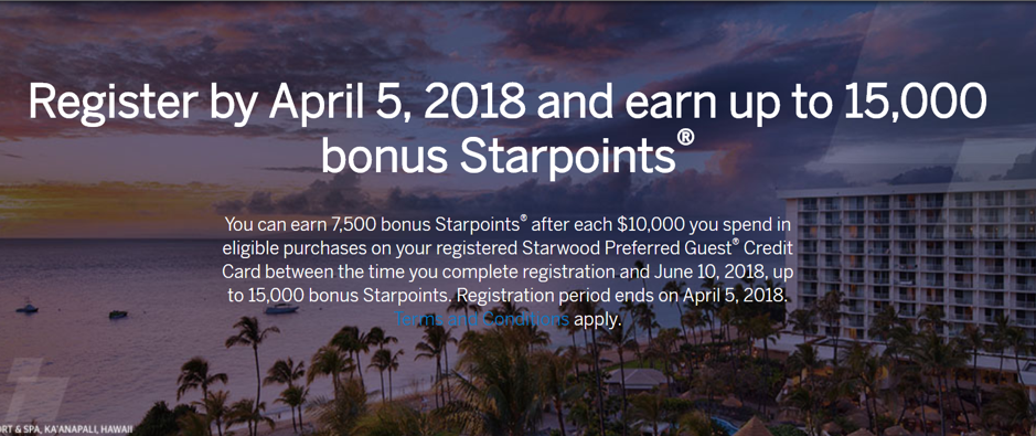 SPG Amex Bonus Points Promotion Register by April 2018 Banner