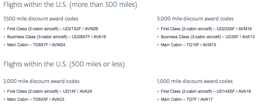 AA Reduced Mileage Award - class of service and find the award code - April 2018