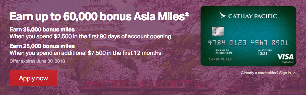 Cathay Pacific Credit Card Increased Bonus Through June 30 2018