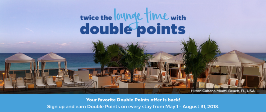 Hilton Double Points Summer 2018 Promotion Banner
