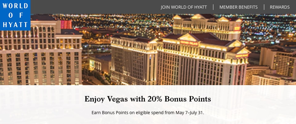 World of Hyatt Vegas 20 Percent Bonus