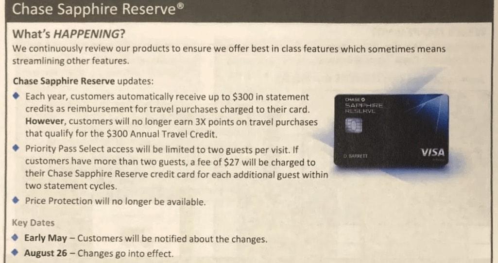 Chase Sapphire Reserve devaluation details