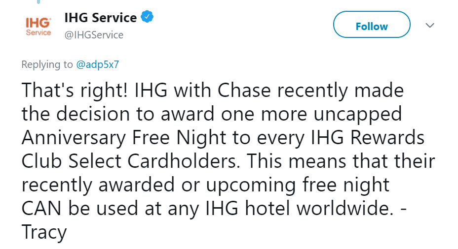 Free Night Certificate reprieve from IHG