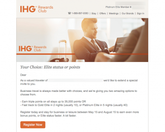 IHG Rewards Club Shortcut to Elite Status Spring 2018