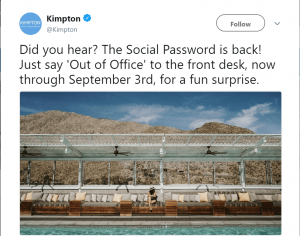 Kimpton Social Password Promotion