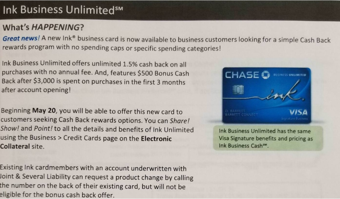 New ink business card coming from chase awardwallet blog leaked details of new chase business card reheart Choice Image