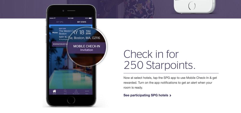 SPG 250 Bonus Points Mobile Checkin